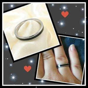 NEW! Black stripe Titanium ring